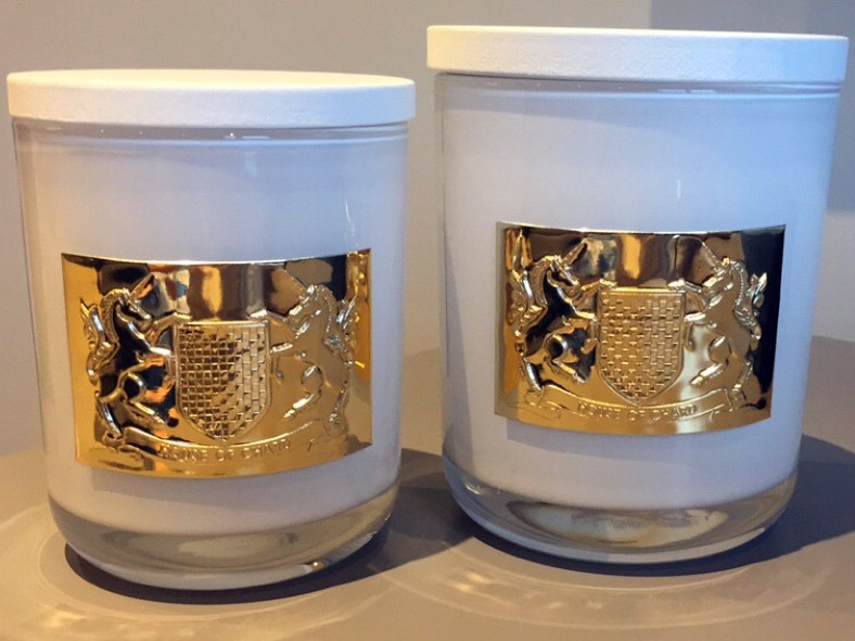 embossed pewter label candle