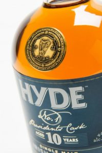 hyde whiskey debossed pewter label