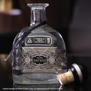 tequila patron decorative embossed label